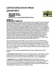 GIFTED EDUCATION PRESS QUARTERLY
