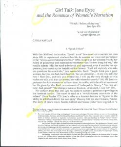 Girl Talk: Jane Eyre and the Romance of Women's Narration