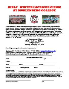 GIRLS' WINTER LACROSSE CLINIC AT MUHLENBERG COLLEGE