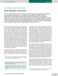 Give Greece a Chance | SpringerLink