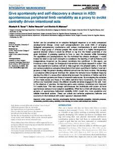 Give spontaneity and self-discovery a chance in ASD ... - Frontiers