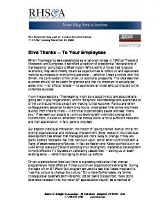 Give Thanks -- To Your Employees - Schaffer Consulting