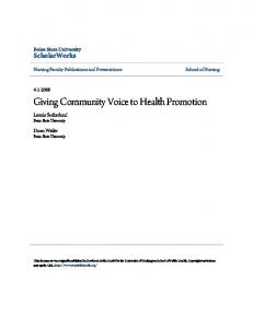 Giving Community Voice to Health Promotion - Boise State Scholarworks