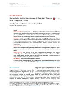 Giving Voice to the Experiences of Rwandan Women With Urogenital ...