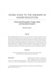 giving voice to the unheard in higher education
