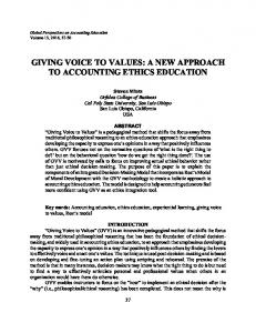 giving voice to values: a new approach to ... - Bryant University