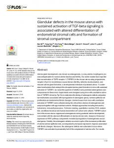 Glandular defects in the mouse uterus with sustained activation ... - Plos