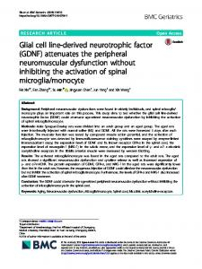 Glial cell line-derived neurotrophic factor (GDNF) - BMC Geriatrics