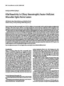 Glial Reactivity in Ciliary Neurotrophic Factor-Deficient Mice after Optic ...
