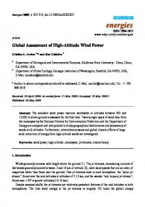 Global Assessment of High-Altitude Wind Power - MDPI
