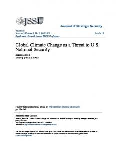 Global Climate Change as a Threat to U.S. National Security