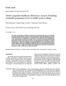 Global comparative healthcare effectiveness research - medIND