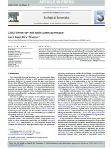 Global democracy and earth system governance