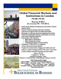 Global Financial Markets and Institutions in London