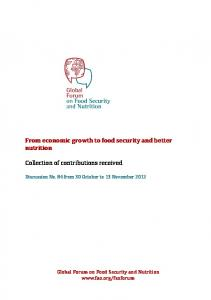 global forum on food security and nutrition - Food and Agriculture ...