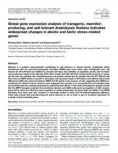 Global gene expression analysis of transgenic ... - Oxford Journals