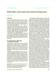 Global health: current issues, future trends and ... - Semantic Scholar