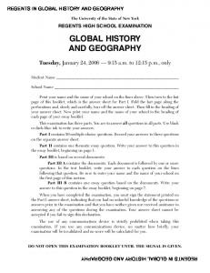 Global History and Geography Examination