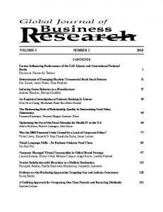 Global Journal of Business Research - The Institute for Business and