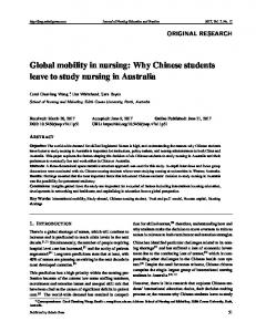 Global mobility in nursing: Why Chinese students leave ... - Sciedu Press