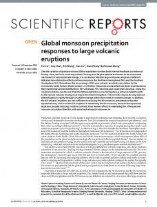 Global monsoon precipitation responses to large volcanic eruptions