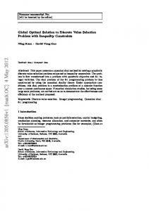 Global Optimal Solution to Discrete Value Selection Problem with ...