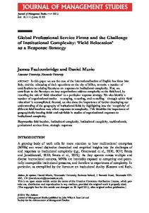 Global Professional Service Firms and the Challenge ...