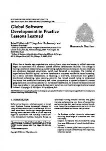 Global software development in practice lessons learned - CiteSeerX