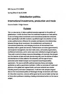 Globalisation politics. International investments, production and trade