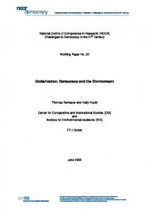 Globalization, Democracy and the Environment - NCCR Democracy