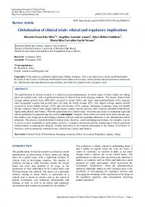 Globalization of clinical trials: ethical and regulatory implications
