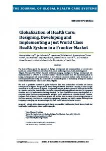 Globalization of Health Care: Designing, Developing and ...