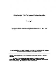 Globalization, Veto Players, and Welfare Spending - CiteSeerX