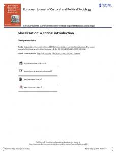 Glocalization: a critical introduction - Victor Roudometof
