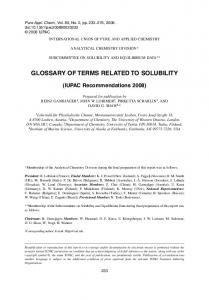 Glossary of terms related to solubility (IUPAC Recommendations 2008)