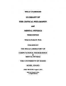 GLOSSARY OF THE CRITICAL PHILOSOPHY and MENTAL PHYSICS