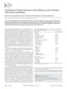 Glucan Levels in Patients with Invasive Candidiasis