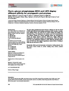 glucan phosphatases SEX4 and LSF2 display ... - Wiley Online Library