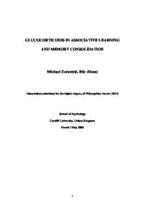 GLUCOCORTICOIDS IN ASSOCIATIVE LEARNING
