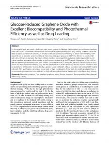 Glucose-Reduced Graphene Oxide with Excellent