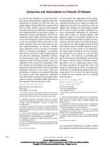 Glutamine and Antioxidants in Critically Ill Patients