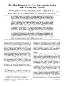Glutathione Peroxidase-1 Activity, Atherosclerotic Burden, and ...