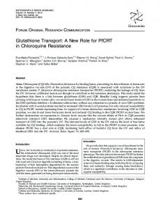 Glutathione Transport: A New Role for PfCRT in ... - Semantic Scholar