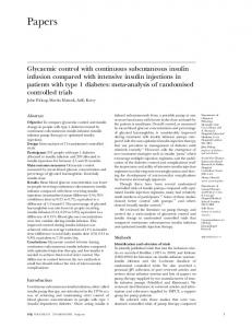 Glycaemic control with continuous subcutaneous insulin infusion ...