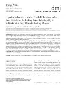 Glycated Albumin Is a More Useful Glycation Index