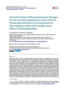 Glycation Induced Physicochemical Changes in