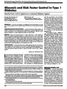 Glycemic and Risk Factor Control in Type 1 Diabetes - Diabetes Care