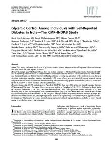 Glycemic Control Among Individuals with Self ...