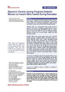 Glycemic Control among Pregnant Diabetic Women on Insulin Who ...