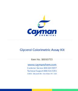 Glycerol Colorimetric Assay Kit - Cayman Chemical